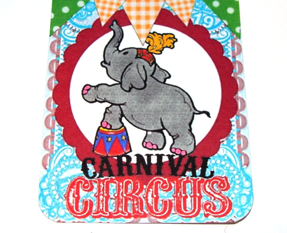 Circus Gift Tags Vintage Inspired Bright And Fun Set of 9 - SiriusFun