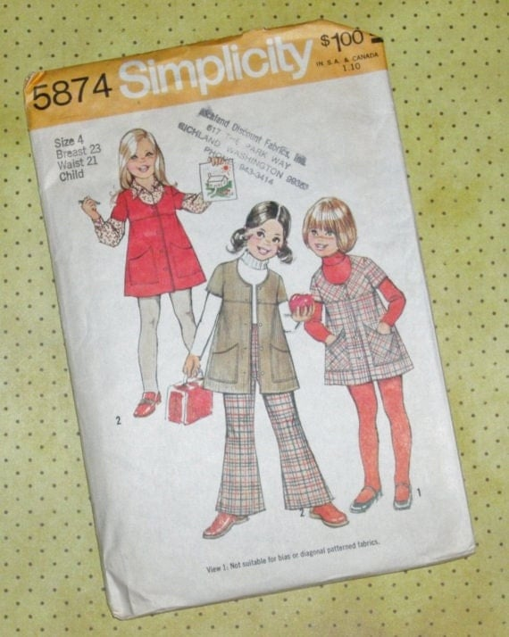 Vintage Sewing Pattern - Child's Jumper and Bell-Bottom Pants - Simplicity 1973