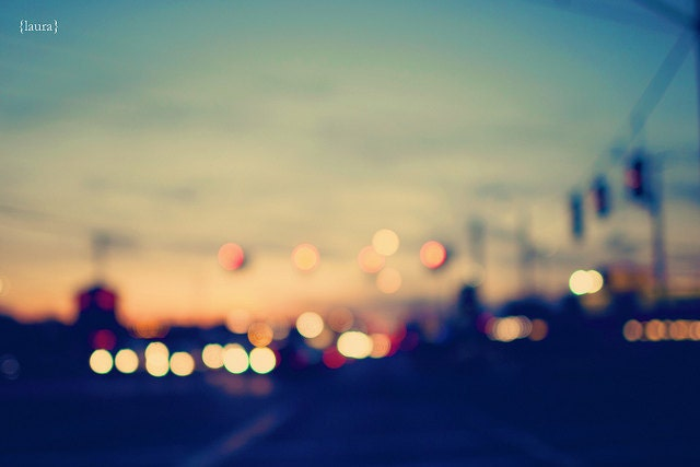 """Abstract Cityscape Photography - Street Bokeh Lights - Home Decor - Fine Art Photography 8x12 - """"We're Only Young Once"""" - DreamyPhoto"""
