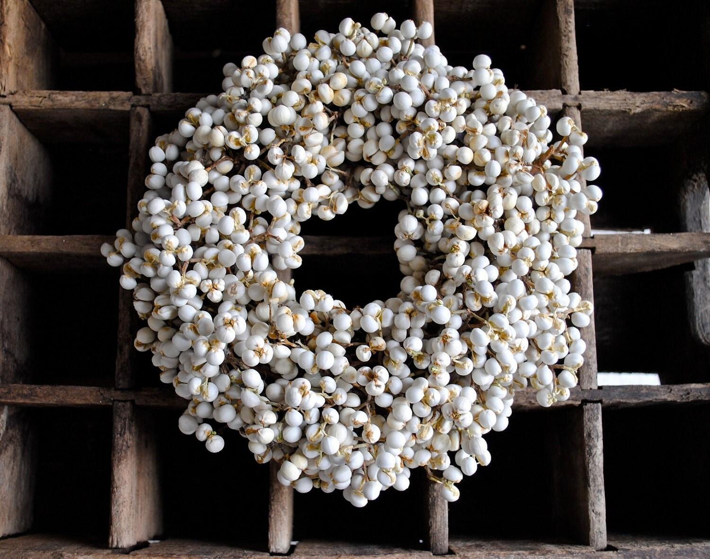 "White Tallow Berry Wreath - Candle Ring - Bridal - Wedding - Centerpiece - Home Decor - Gift - 8"" - TALLCOTTONnPEAS"
