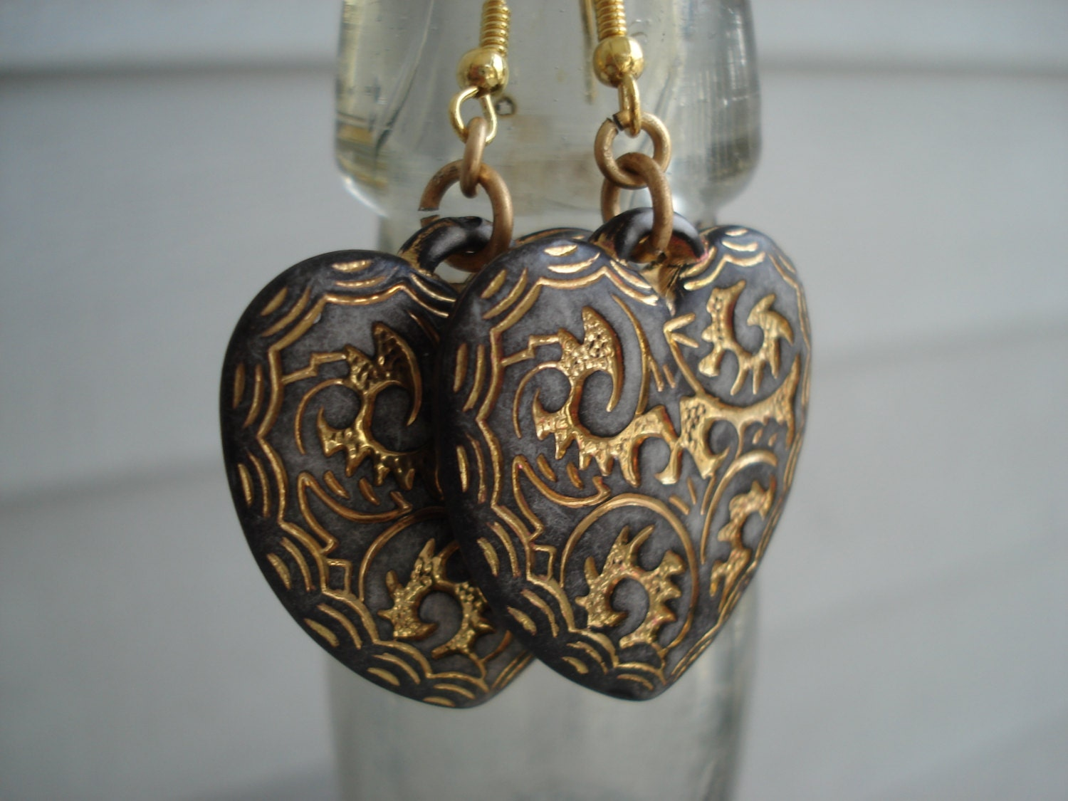 Vintage Coffee Etched Gold Hearts Earrings Woodland Valentine - boxerlovinglady