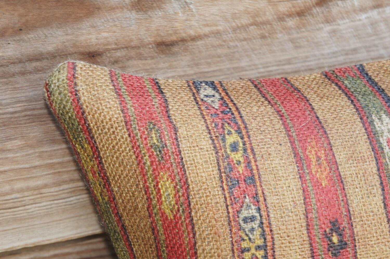 Навахо Inspired Чехол, Полосатый Burlap подушка, 16x16