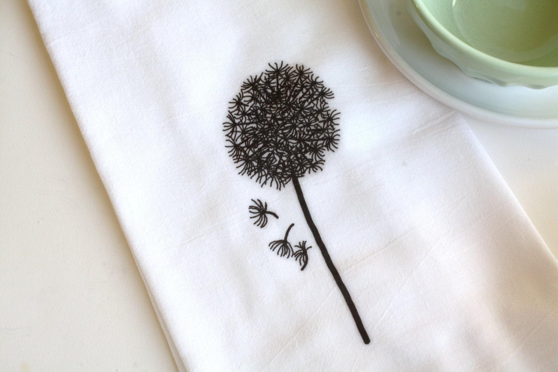Flour Sack Towel, Dandelion, Cotton, Kitchen Towel, Hostess Gift, Housewarming Gift - AppleWhite