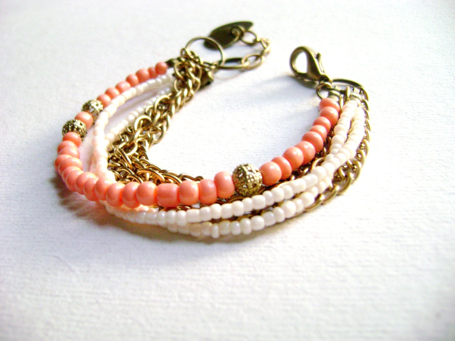 Sweet talk - romantic Boho style ivory pink coral multiple chain stacking bracelet - DivinaLocura