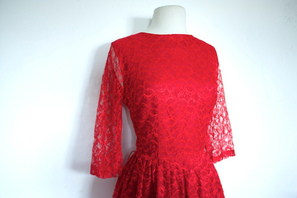 VINTAGE 1950S RED LACE DRESS // LYDIA DEETZ // BEETLEJUICE WEDDING ...