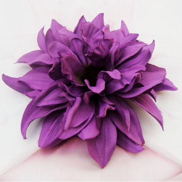 "4.5"" Purple Dahlia Flower Hair Clip or Pin Brooch"