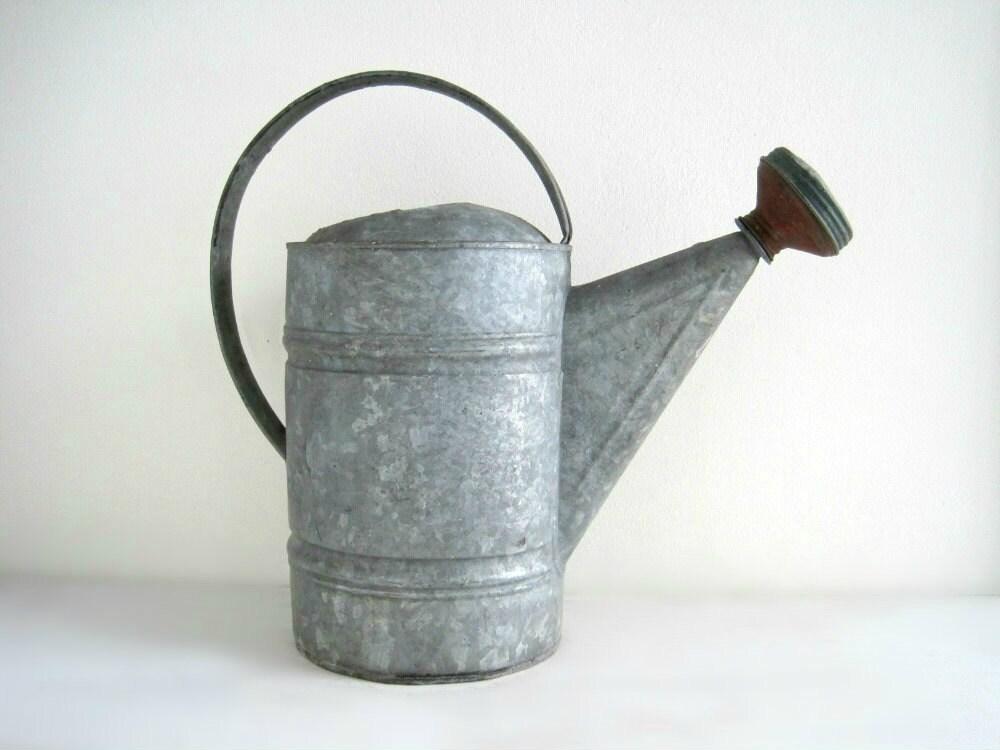 Vintage Galvanized Metal Watering Can - Gardening - GoldenDaysAntiques