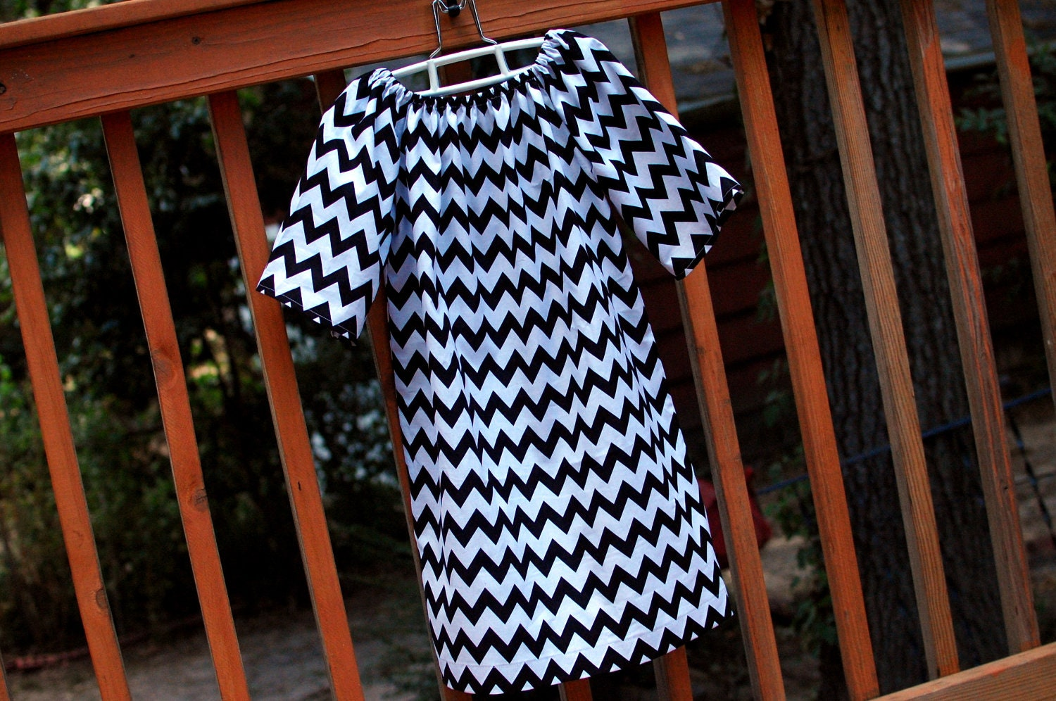 Girl's Peasant Dress w/ mid-length sleeves, Black and White Chevron designer fabric, Sizes 3m to 5T - MonkeyStyleBoutique