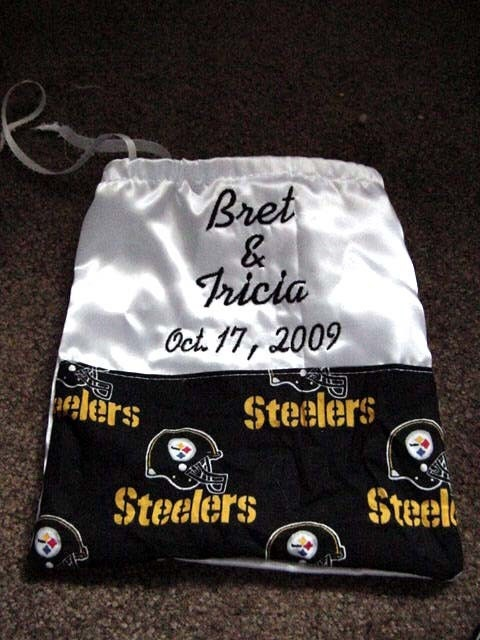 Pittsburgh Steelers NFL Football Satin Drawstring Money Bag Bridal Wedding