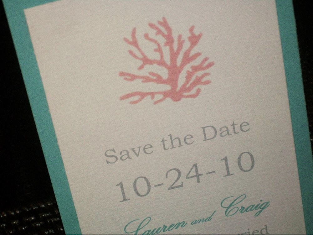 Coral Wedding Invitation Ensemble From lapittman