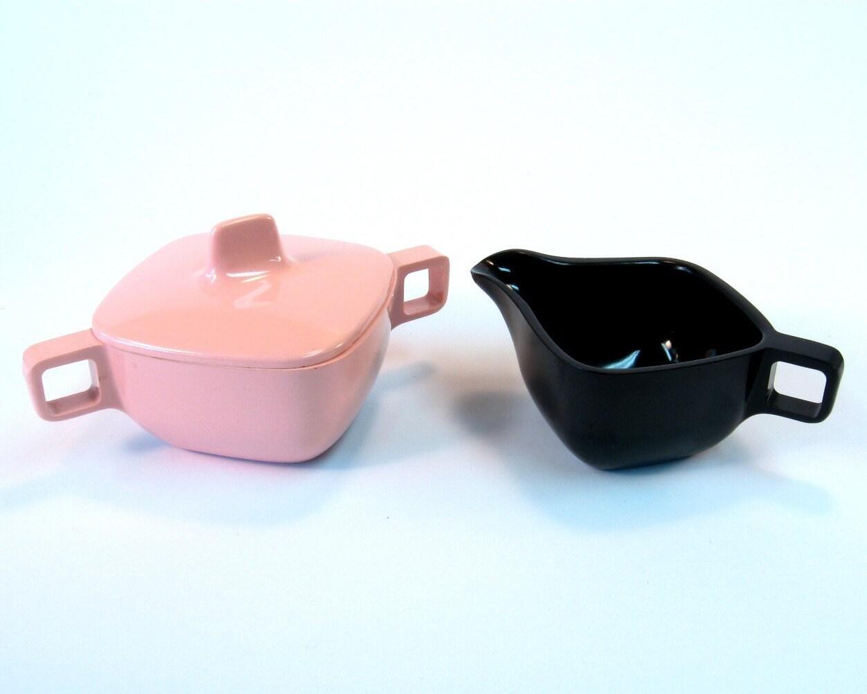 Retro Cream and Sugar Set Pink and Black Vintage Atomic Melamine