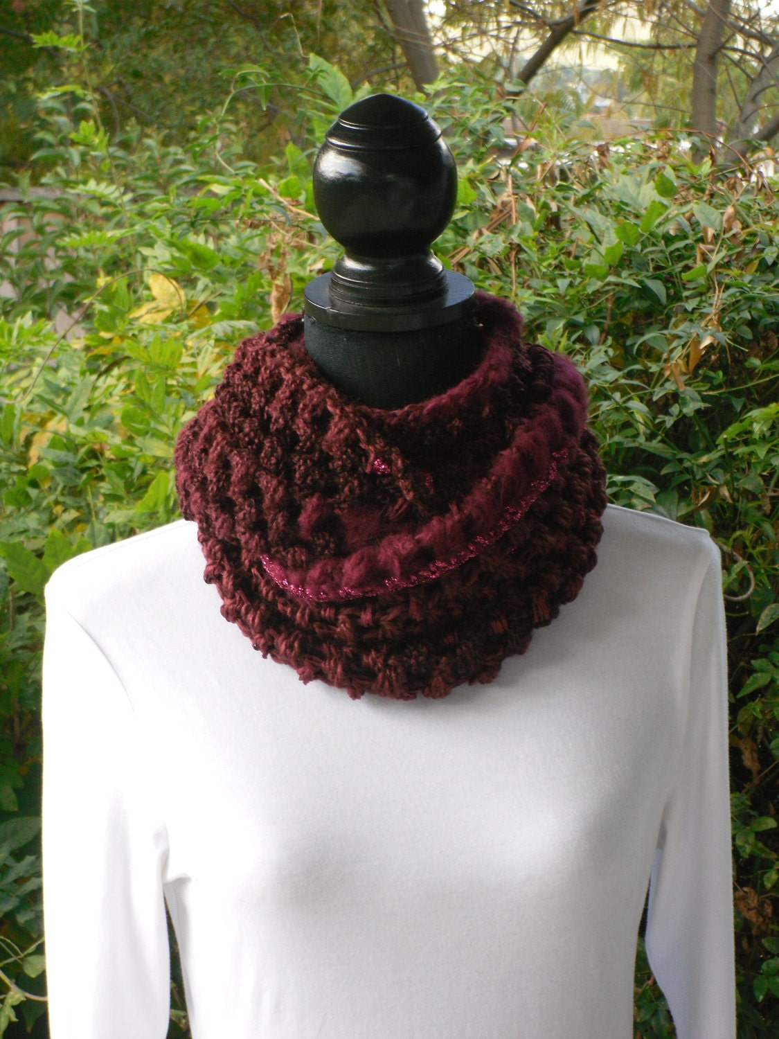 Infinity Eternity Cowl Neck Warmer Scarf Garnet Burgundy Soft Cluster Crochet MADE TO ORDER