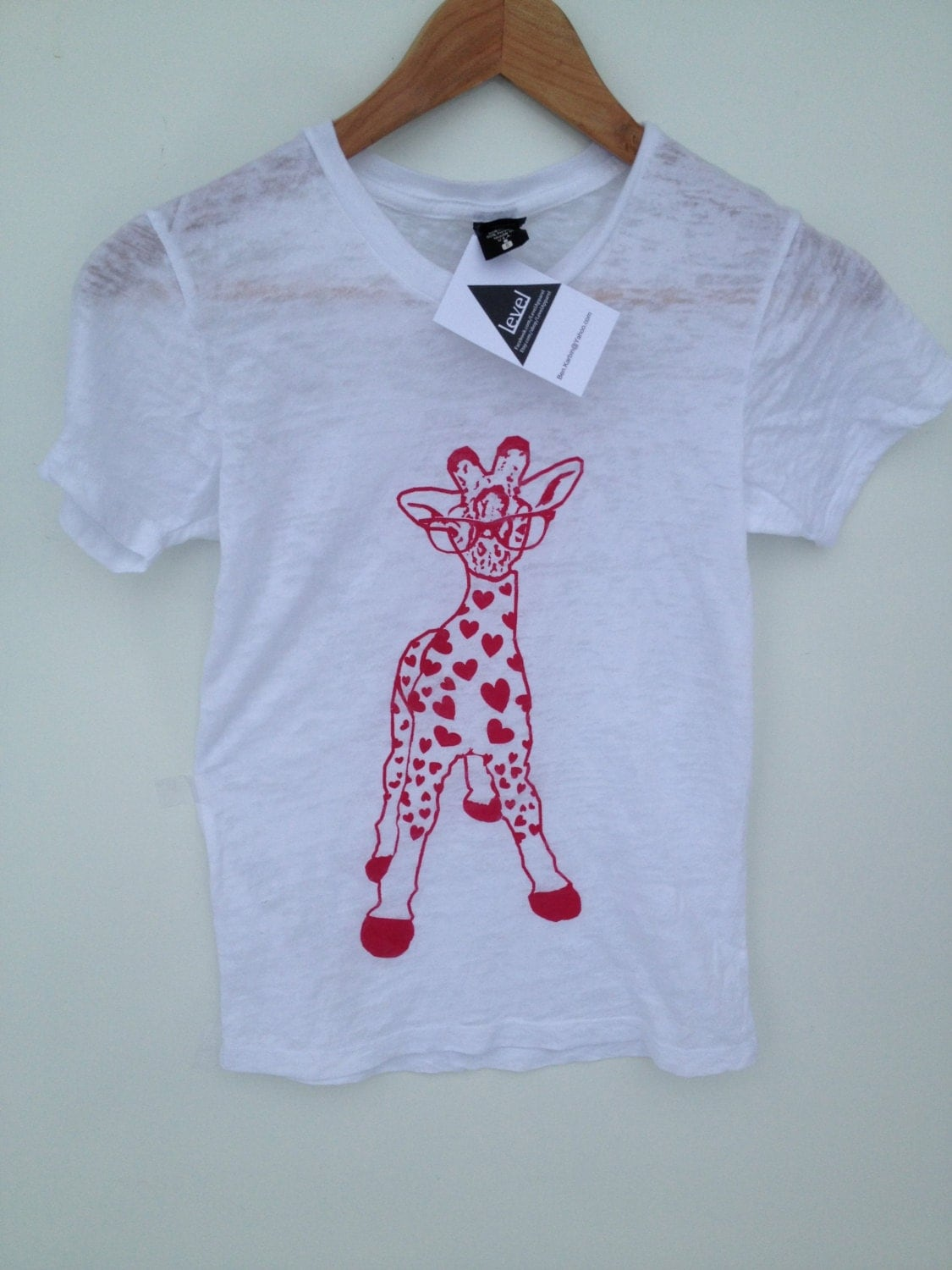 Lovely Giraffe Womens Tee in White, Valentines day, Level Apparel, Alternative Apparel