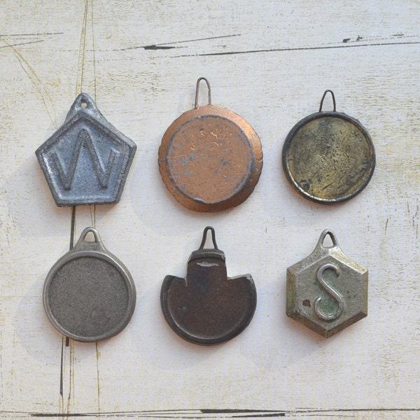 vintage clock weights pendulum weights INSTANT COLLECTION of 6 offered by Elizabeth Rosen - ElizabethRosenArt