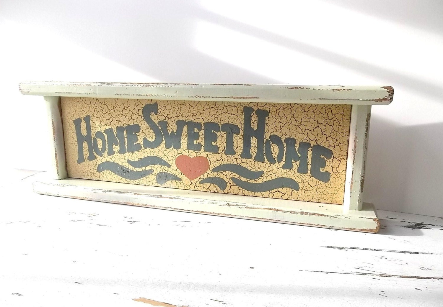 Home Sweet Home. Vintage Sign. Wall shelf. Key Holder. Mantel DIsplay. Shabby Chic Cottage Decor