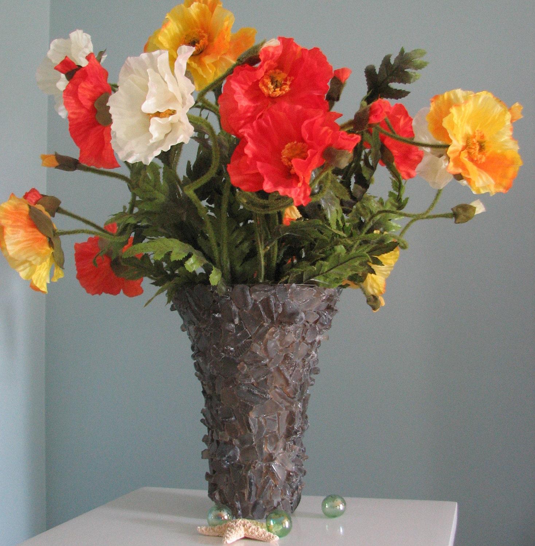 Пляж Декор моря стеклянную вазу или урагана - Пляж стеклянной вазе в дым Браун