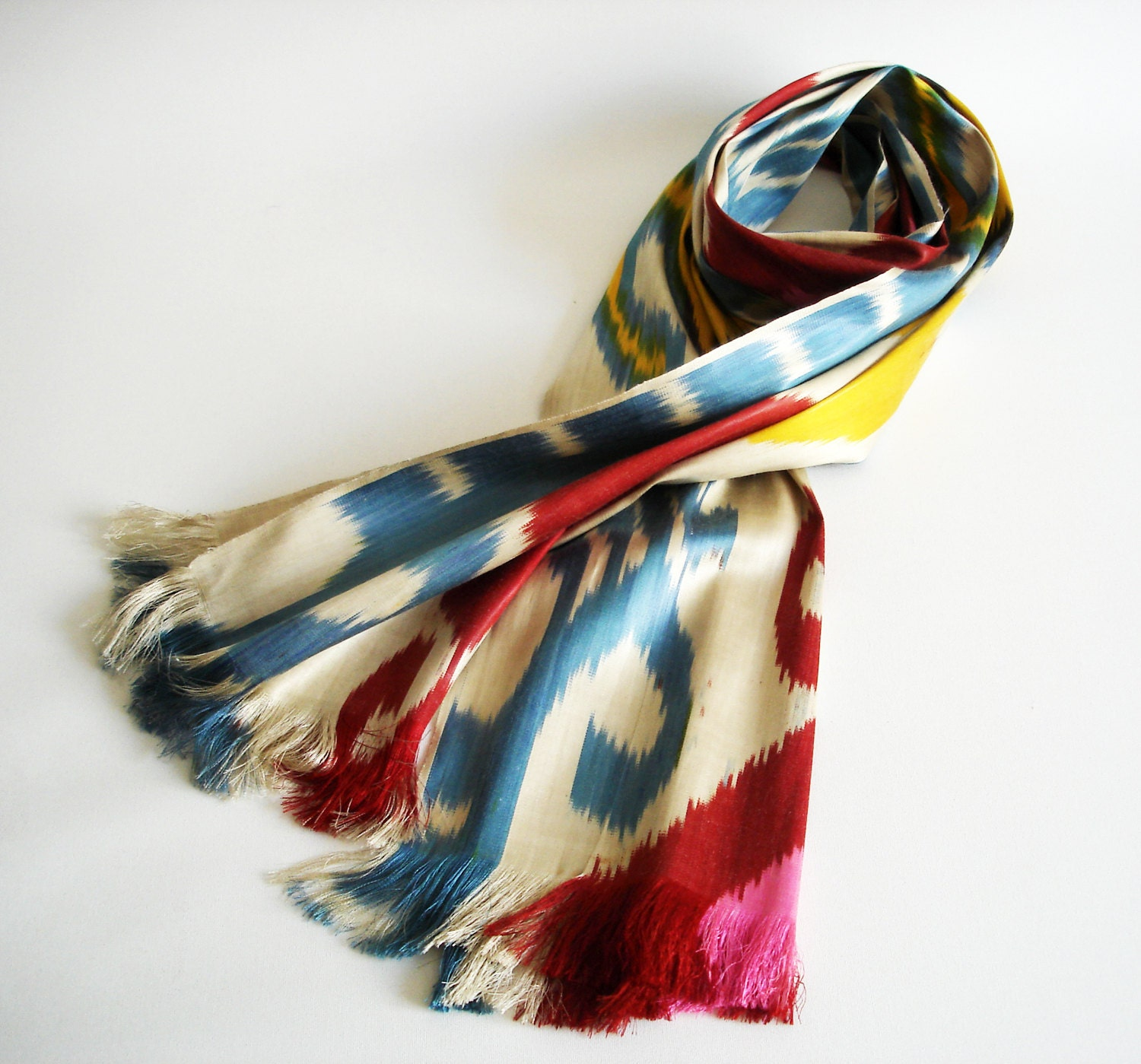 Sukan / Hand Woven ikat Silk Scarf, Yellow, Cream, Beige Color, Red, Pink, Yellow, Blue, Brown