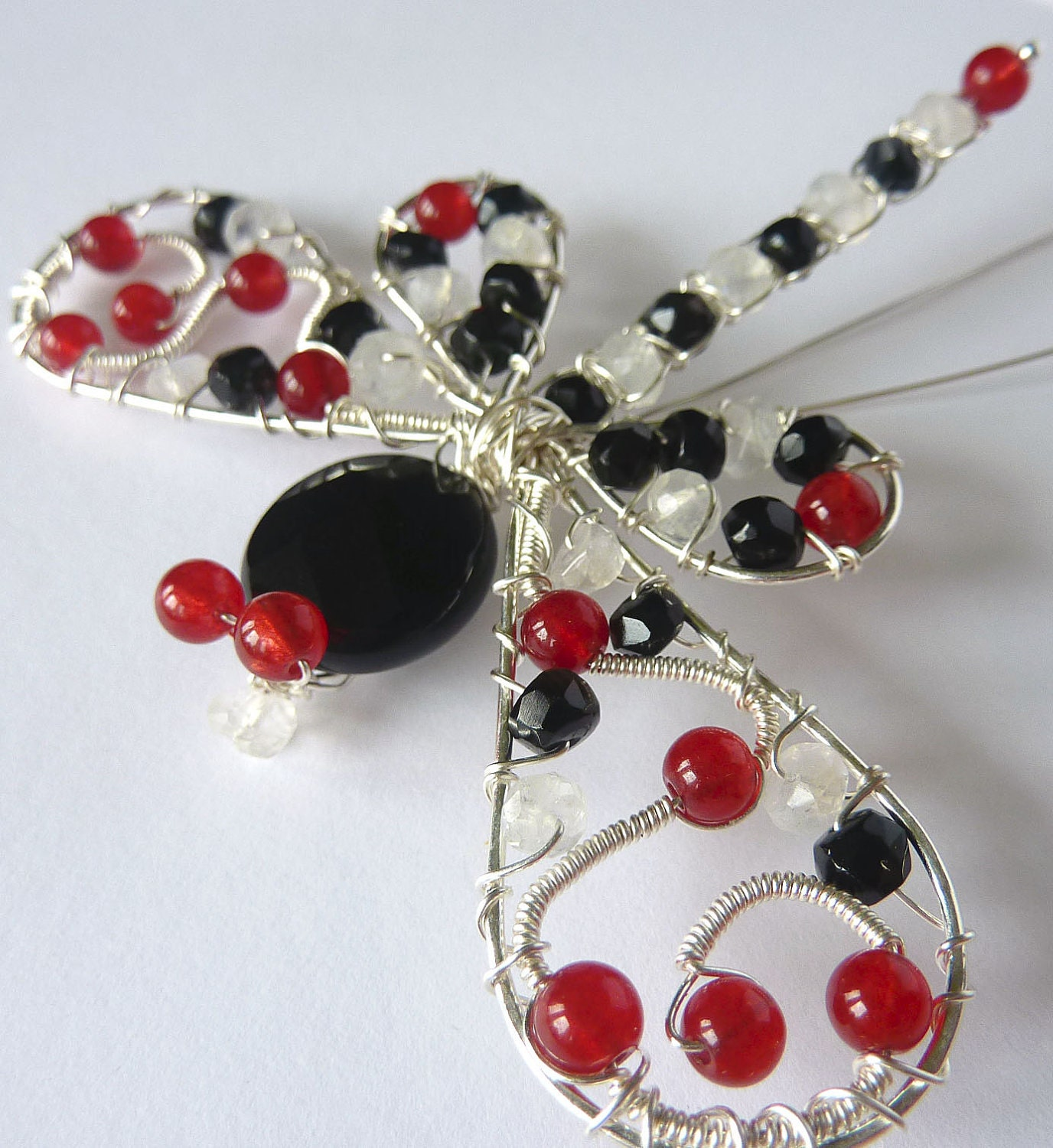 123 SALE - Black Onyx and Red Agate large ornate Sterling Dragonfly Hair Pin, Clip, Brooch or Bouquet Decoration
