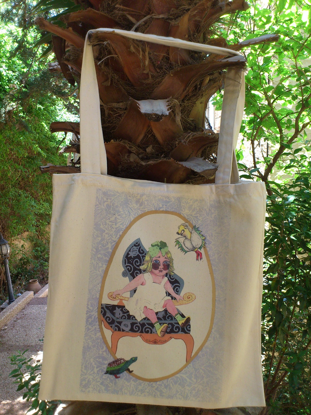 Sitting - Girl - Family - Collage Tote Bag