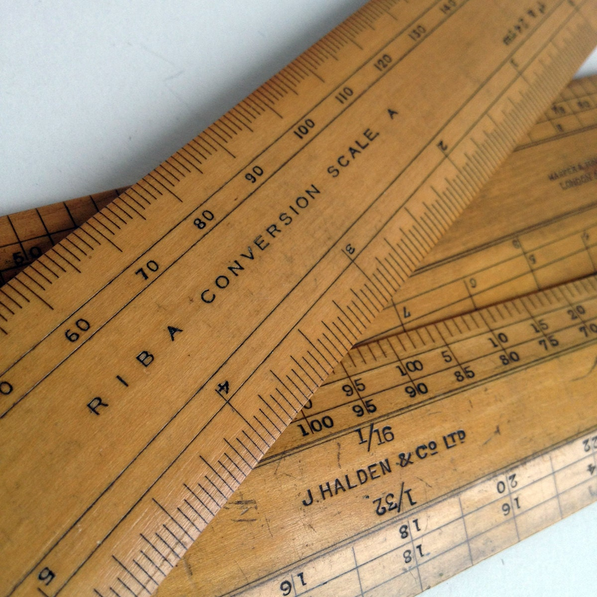 3 vintage wooden rulers with great patina with cm and scale conversion - vintagecuriosityshop