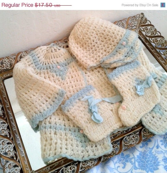 FALL SALE Vintage Baby Clothes - Matching Sweater, Cap and Booties - Cream and Baby Blue - izzysvintagegarden