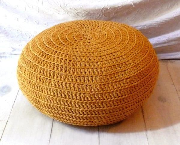 Crochet Almofada para Chão - Mostarda