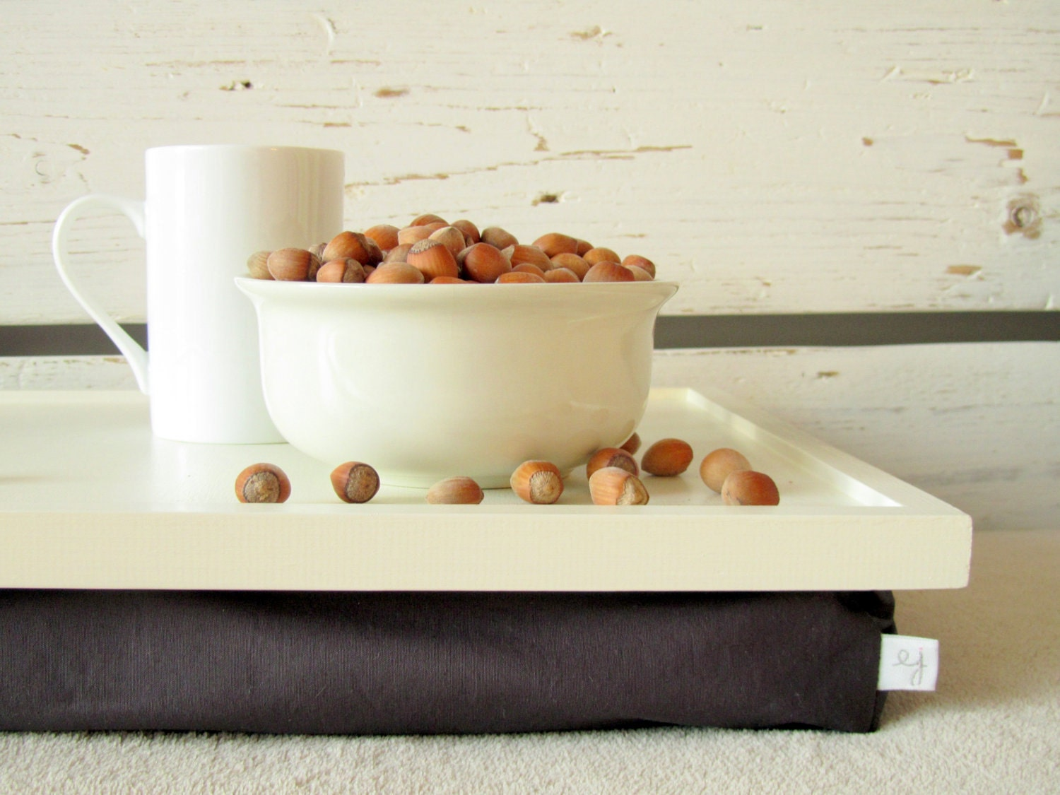 Breakfast Serving Lap Desk or Laptop Tray, Stand, Table- Off white with brown- Custom Order - EJbutik