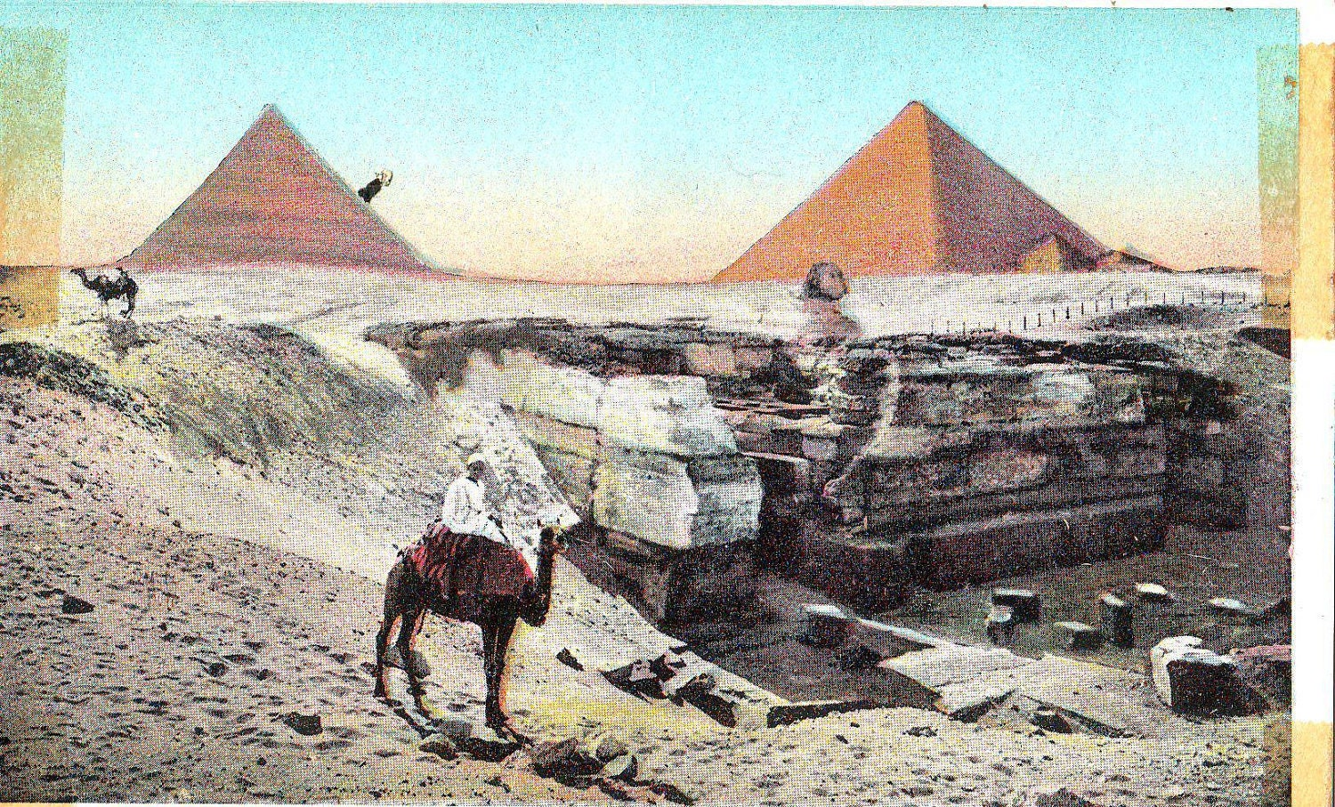 Antique Postcard - Cairo - Temple of Mena Sphinx and Pyramids - thevintagemode