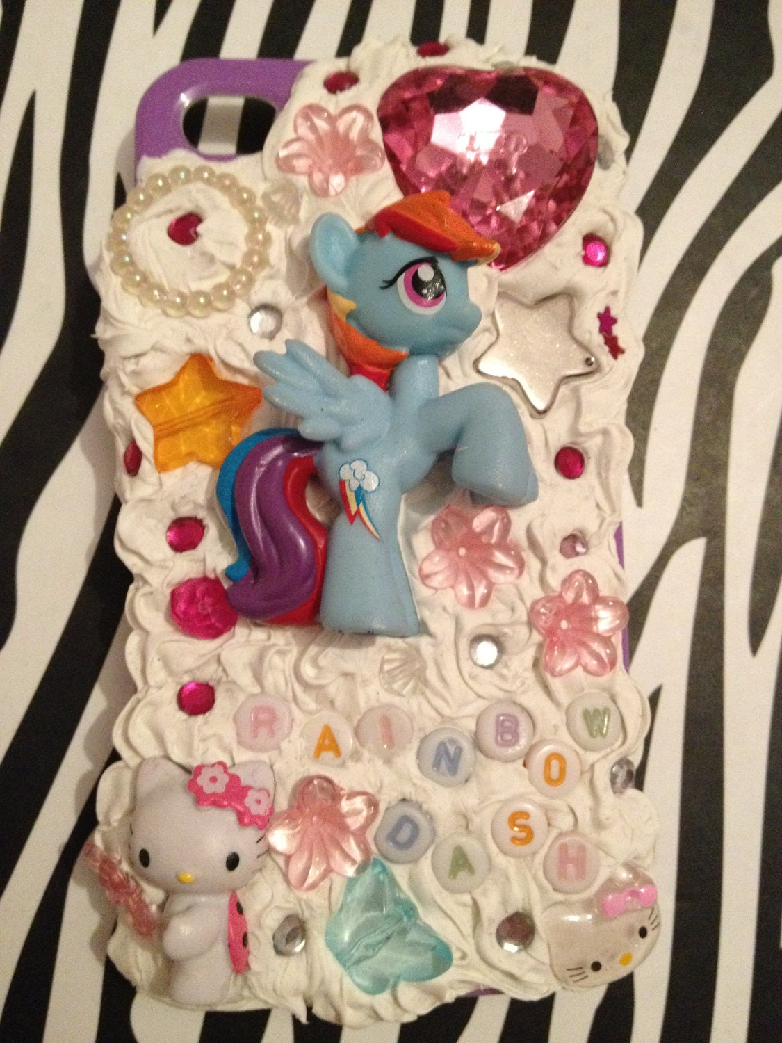 Cute Kawaii Decoden Rainbow Dash and Hello Kitty Phone Case My Little Pony iPhone 4 4S