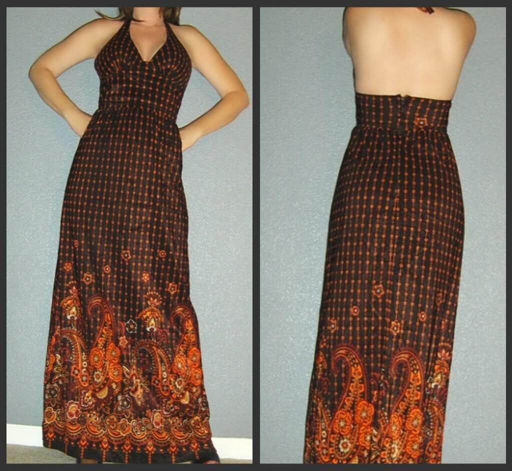 XS S Vtg 70s Brown and Orange PAISLEY Deep V Op Art Backless Halter Boho Hippie Maxi Dress - sindrella9
