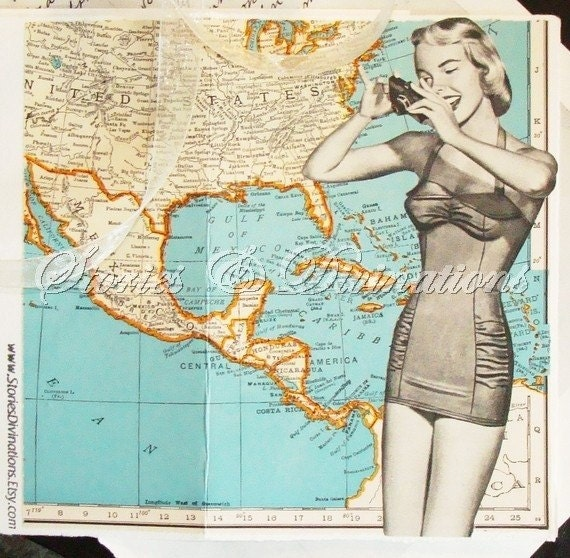 Vacation Fun - Vintage Maps Collage Card - Florida - Carribean - Virgin Islands - Bermuda