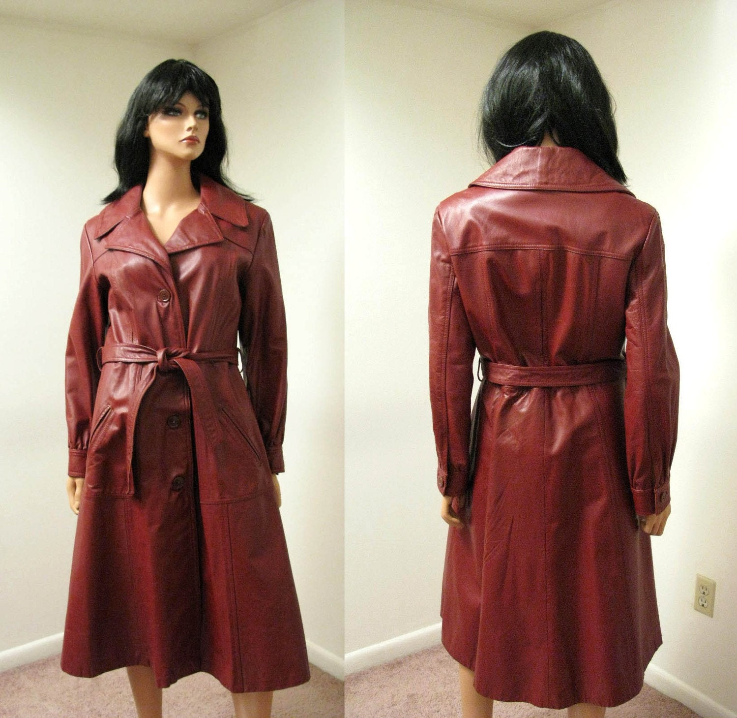 Long Leather Trench Coat - Vintage 70s Reddish Brown Leather Spy Girl Coat S M FREE US Shipping