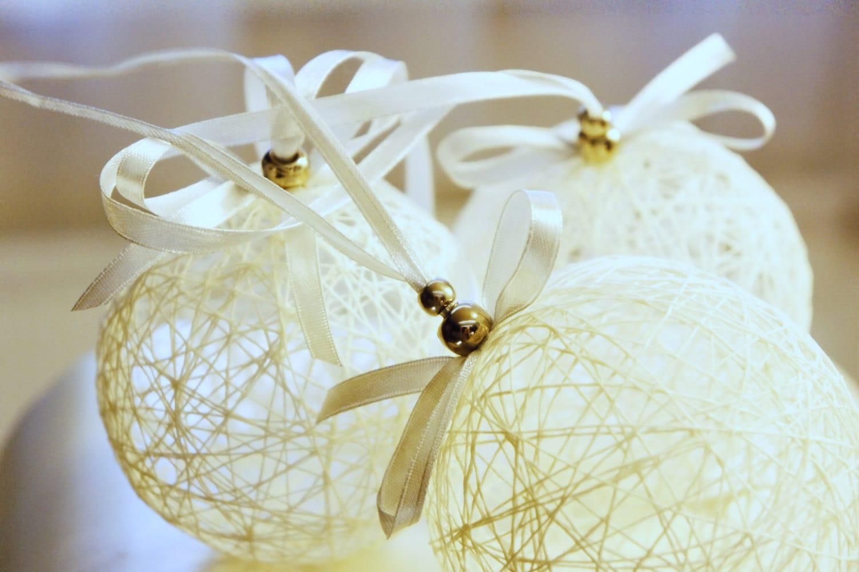 linen thread Christmas ornaments ''Snow Balls'' set of 3 - liradesigne