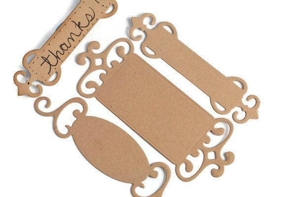 Kraft paper fancy tag labels . die cut tags with ornate edge . 12 ct . scrapbooks . brackets . brown paper . name plate . antique