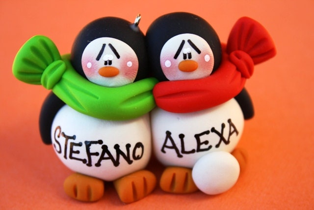 Personalized Clay Penguin Couple Expecting Baby
