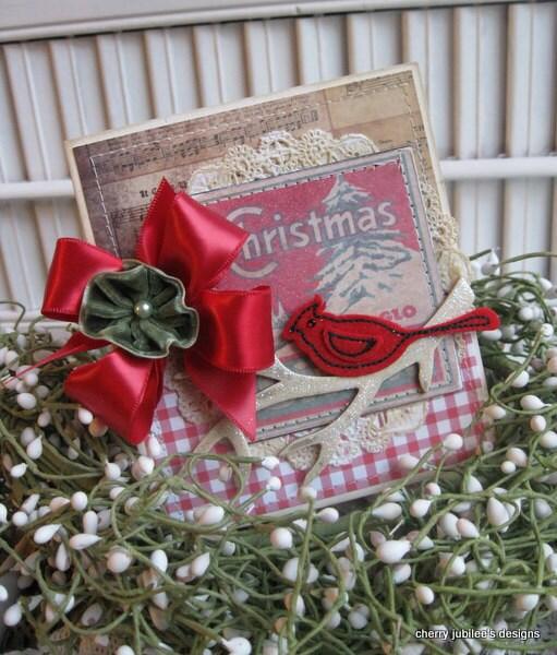 винтажном стиле Рождество красный кардинал сшитые ручной работы карты
