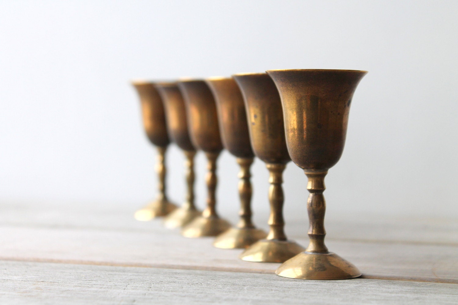 Vintage brass cordial set / small goblets / global home decor / ethnic / tribal / eclectic home / gift idea / rustic glam / regency - WhiteDogVintage