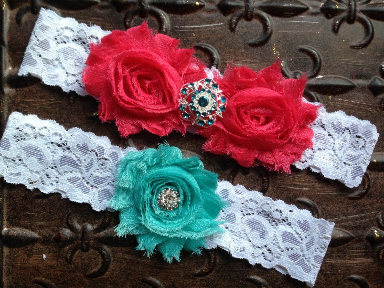 Coral Wedding Garter Set, Lace Wedding Garter, Wedding Garter Set, Coral Turquoise Garter, Coral Garter, Turquoise Wedding Garter