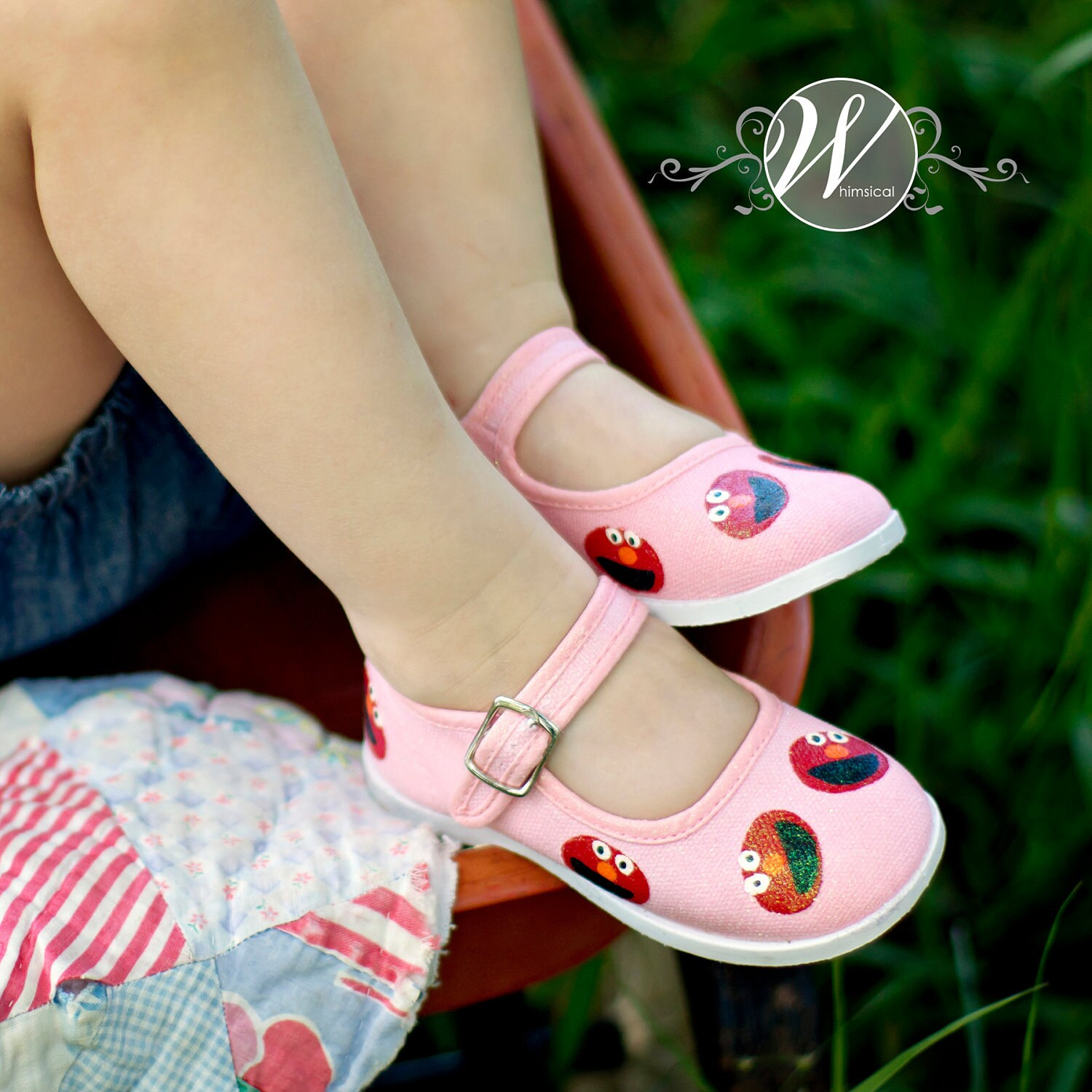 Elmo shoes - Hand painted Elmo inspired maryjane shoes for girls- infant and toddler - sparkled and pink - Snanimals
