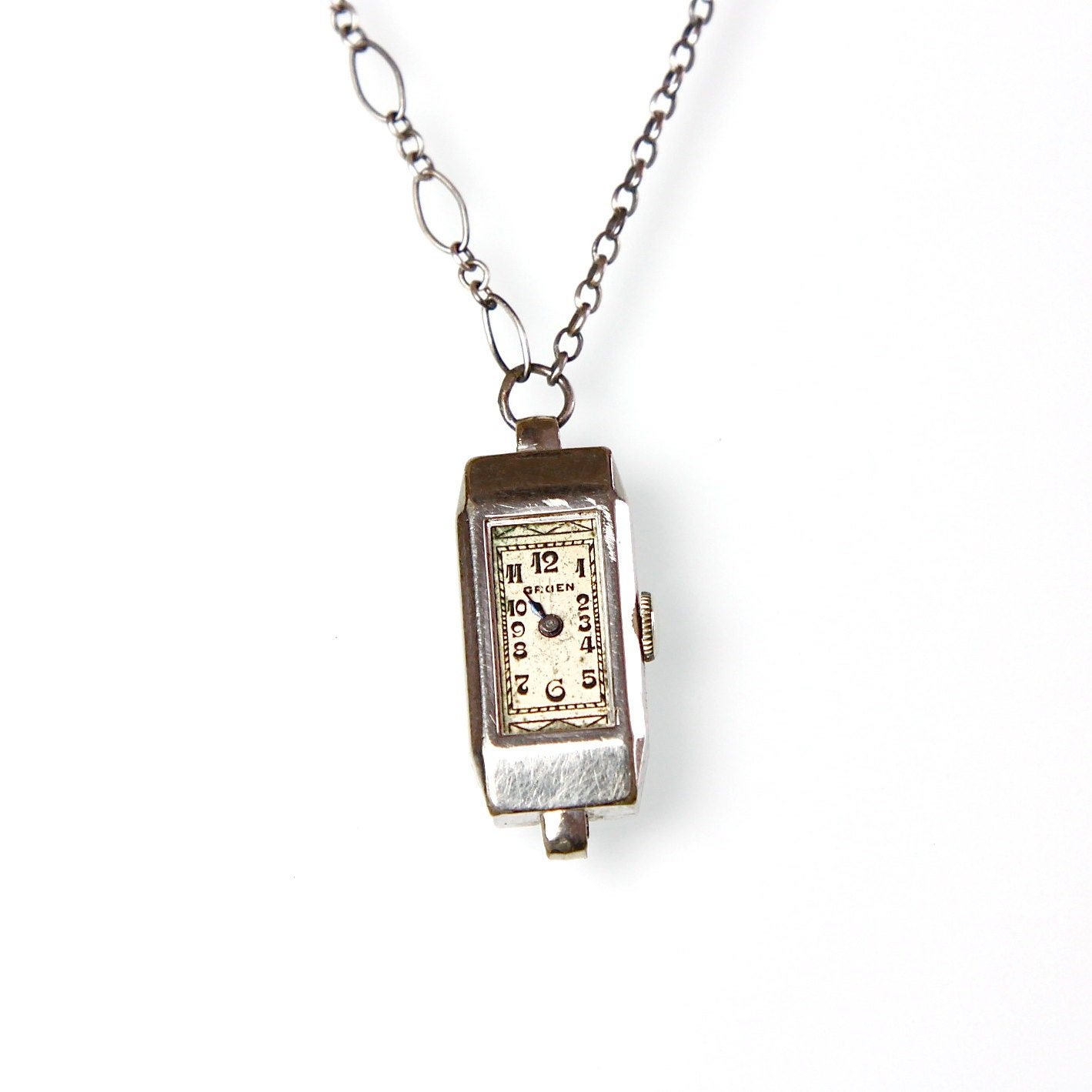 Watch Necklace Sterling Silver Art Deco Vintage - salvagelife
