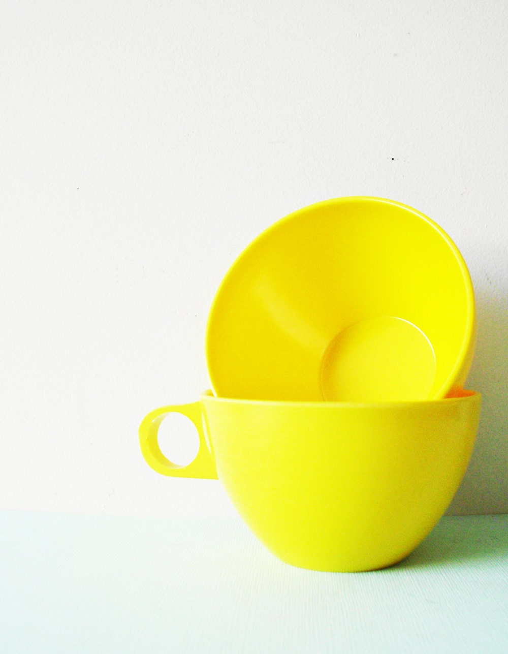 Yellow Melmac Coffee Cups