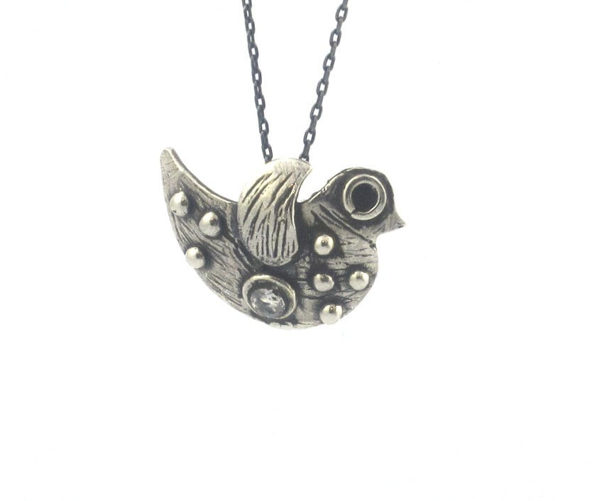 Cute Bird Necklace - Sterling Silver - serpilguneysudesigns