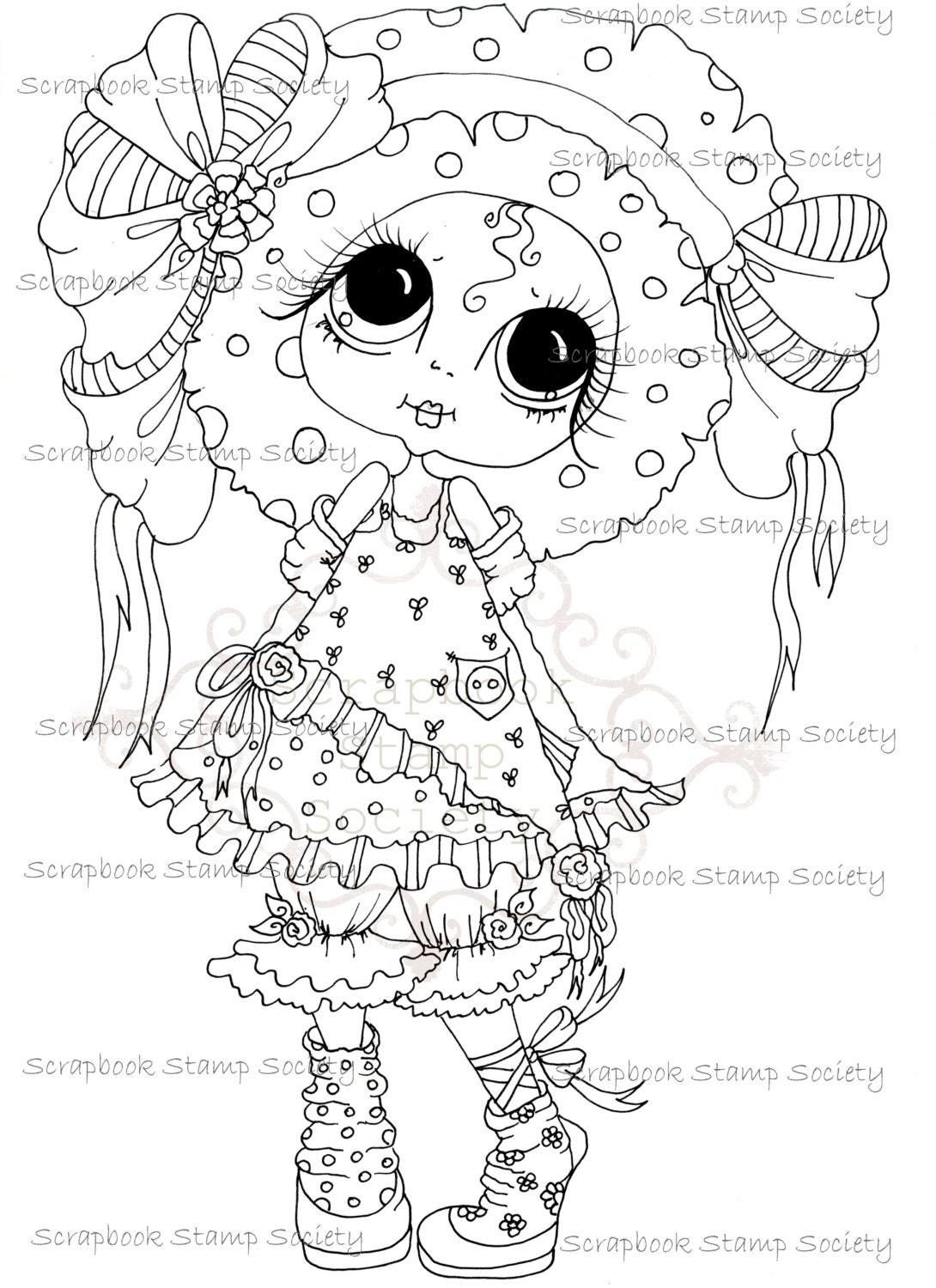 INSTANT DOWNLOAD Digital Digi Stamps My Besties TM Big Eye Big Head Dolls Digi IMG689 By Sherri Baldy