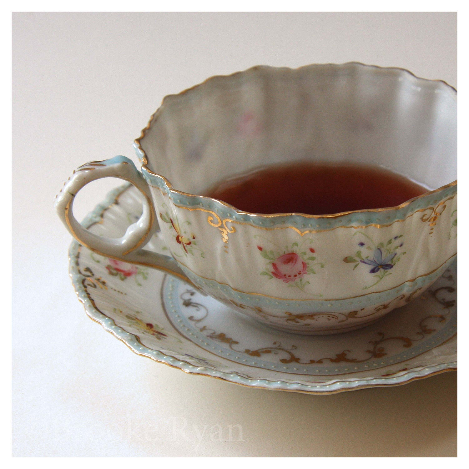 Tea Cup and Saucer Photo 8 x 8  White Blue Pink Roses Gold Floral Bone China - Delicate - BrookeRyanPhoto