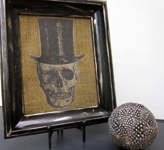 Halloween Skull Burlap Picture Vintage Top Hat