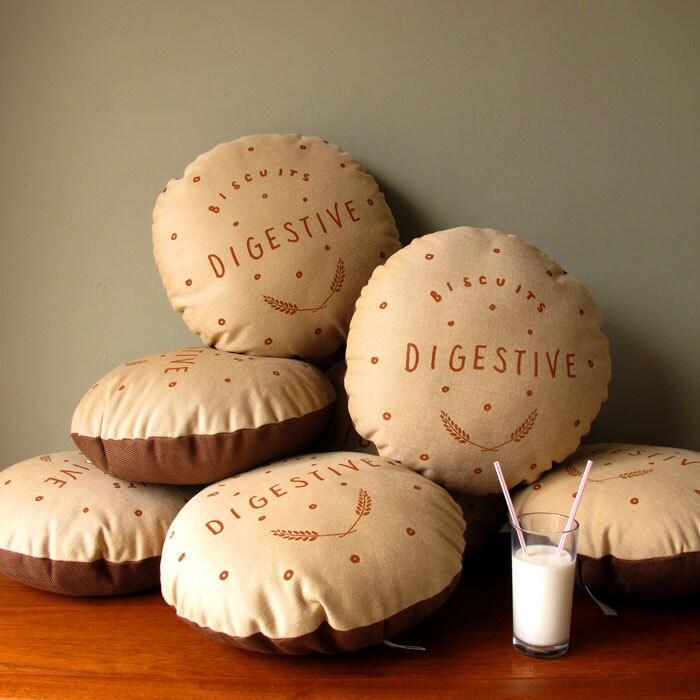 Chocolate Digestive Screen-Printed Cushion