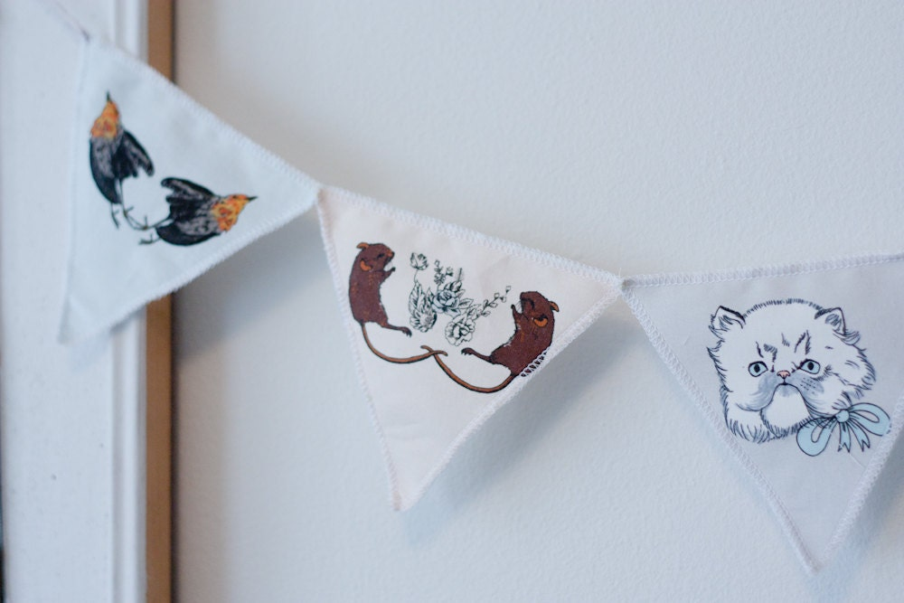 printed cotton bunting - persians and prey
