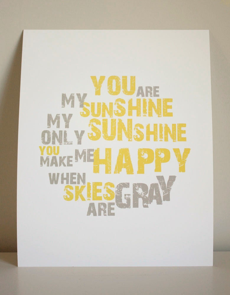 8x10 You Are My Sunshine print