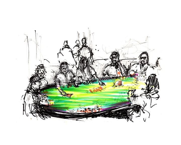 "8in x 10in Art Marker Sketch Print: ""Poker Night"", by Luis E. Aparicio - Garabateando"