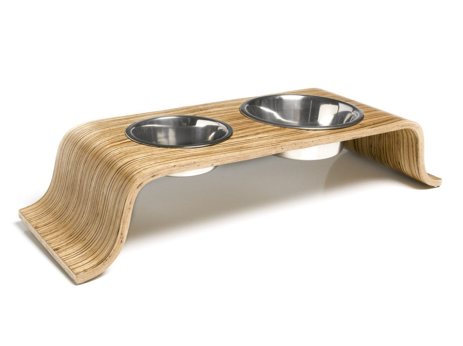Big Bend Dog Bowl Holder - Zebrawood